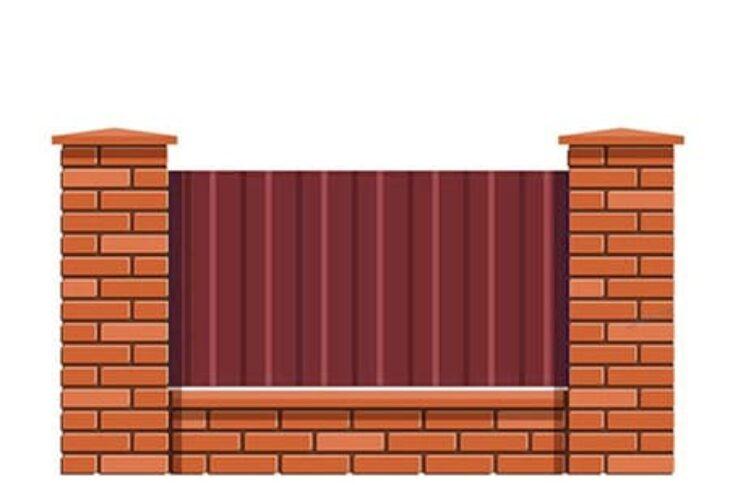 Заборы и столбы из блоков и кирпича